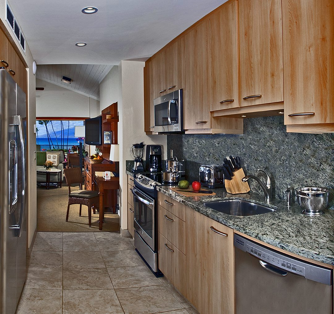 Garden View and Ocean View Studio and Hotel Room Kitchen